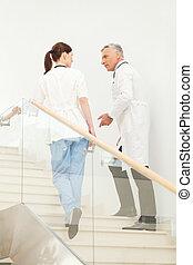 kollegen, oben, klinikum, problems., strömung, sprechende , ...