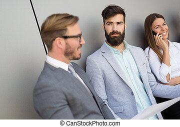 kolleger, affär, kafferast, konversation, under, ha