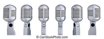 kollektion, av, årgång, mikrofoner, isolerat, vita, bakgrund