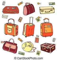 kollektion, av, årgång, resa, suitcases, med, klistermärken