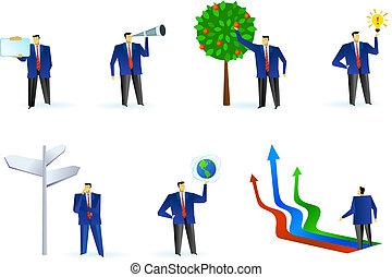 kollektion, av, abstrakt, affärsfolk, logo