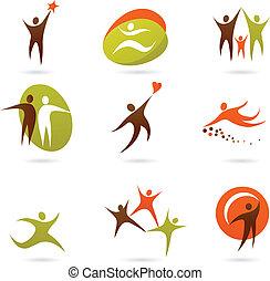kollektion, av, abstrakt, folk, logo, -, 16