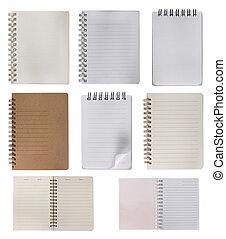 kollektion, av, anteckningsbok