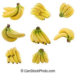 kollektion, av, bananer, cluster.