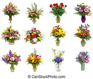 kollektion, av, blomster ordnande