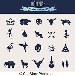 kollektion, av, bohem, stam, objekt, elementara, och, ikonen