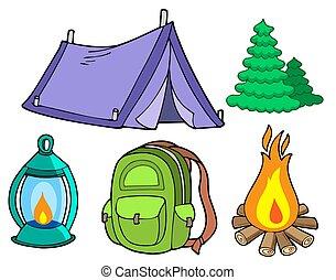 kollektion, av, camping, avbildar