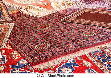 kollektion, av, dyrbar, mattor, av, afghan, ursprung