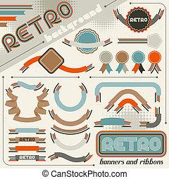 kollektion, av, etiketter, och, remsor, in, retro, årgång, style.