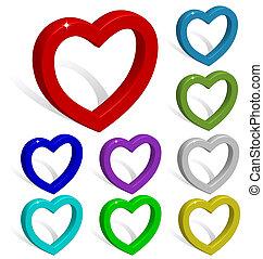 kollektion, av, färgad, 3, hjärtan