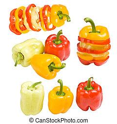 kollektion, av, färgad, paprika