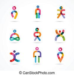 kollektion, av, färgrik, abstrakt, vektor, folk