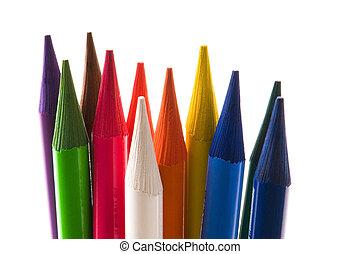 kollektion, av, färgrik, blyertspenna