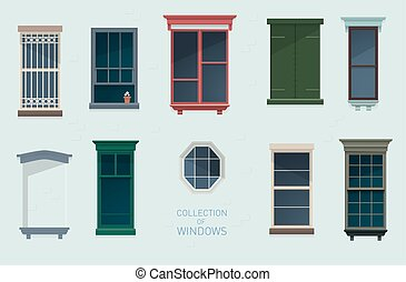 kollektion, av, fönstren
