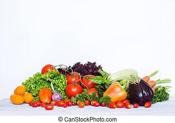 kollektion, av, frisk, vegetables.