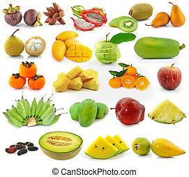 kollektion, av, frukt, isolerat, vita, bakgrund