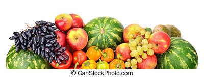 kollektion, av, frukt, och, grönsaken