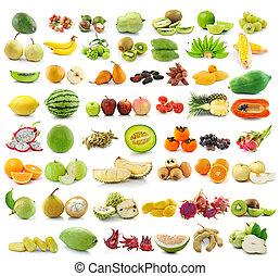 kollektion, av, frukter, isolerat, vita, bakgrund