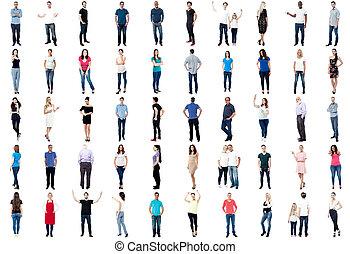 kollektion, av, full längd, diversified, folk