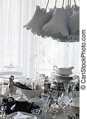 kollektion, av, gammal, bordsservis