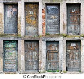 kollektion, av, gammal, trä, dörrar