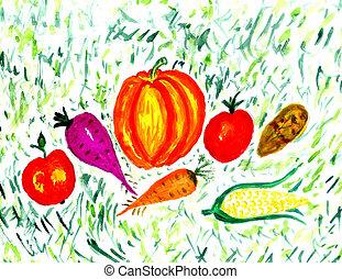 kollektion, av, grönsaken