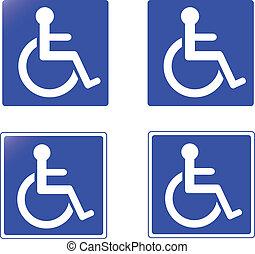 kollektion, av, handikapp, undertecknar, vect