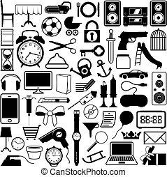 kollektion, av, ikonen, av, objekt