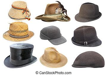kollektion, av, isolerat, gammal, hattar