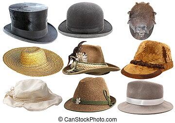 kollektion, av, isolerat, hattar