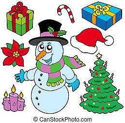 kollektion, av, jul, avbildar