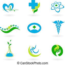 kollektion, av, läkar ikon