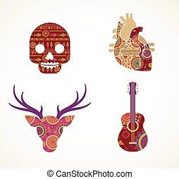 kollektion, av, mönstrad, bohem, stam, objekt, elementara, och, ikonen