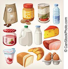 kollektion, av, mat, och, produkter