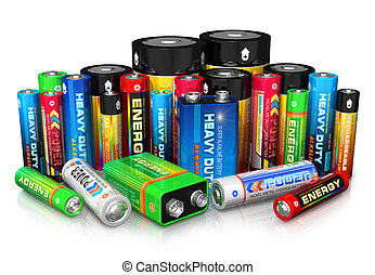 kollektion, av, olik, batterier
