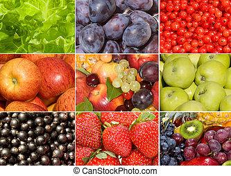 kollektion, av, olik, frukter, bär, och, grönsaken