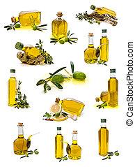 kollektion, av, olivolja