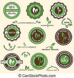 kollektion, av, organisk, etiketter, och, ikonen