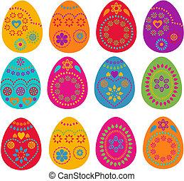 kollektion, av, påsk eggar