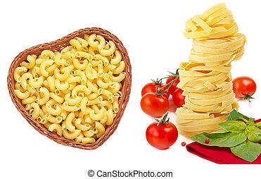 kollektion, av, pasta.