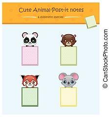 kollektion, av, söt, djur, post-it, noteringen, #4