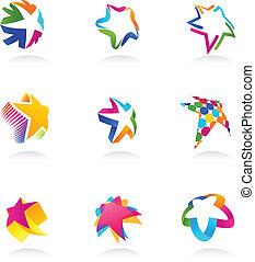 kollektion, av, stjärna, ikonen, vektor