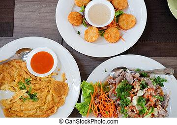 kollektion, av, thailändsk mat