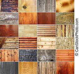 kollektion, av, trä, strukturer