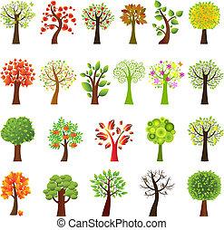 kollektion, av, träd
