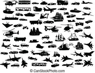 kollektion, av, transport