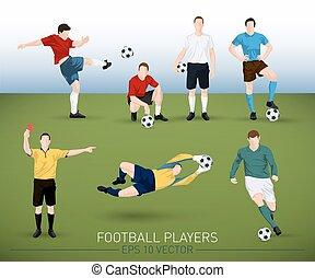 kollektion, av, vektor, fotboll spelare