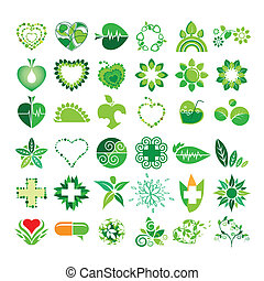 kollektion, av, vektor, logo, hälsa, och, den, miljö