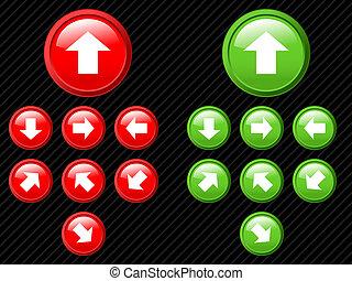 kollektion, av, vektor, pilar, av, olik, directions., lätt, till, redigera, några, size., aqua, nät, 2.0, style.