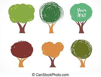 kollektion, av, vektor, träd, ikonen